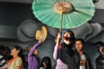 stage dancing little girl with umbrella